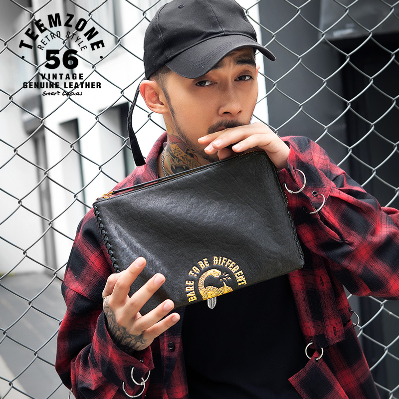 Genuine Leather Men Clutches Bag Envelope Bag European And American Style Zipper Cow Leather Designer Handbags High Quality J50