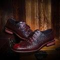 Los hombres de negocios informales de la boda discoteca vestido de cocodrilo zapatos de cuero de serpiente de impresión originales adolescentes caballero relieve oxfords zapato