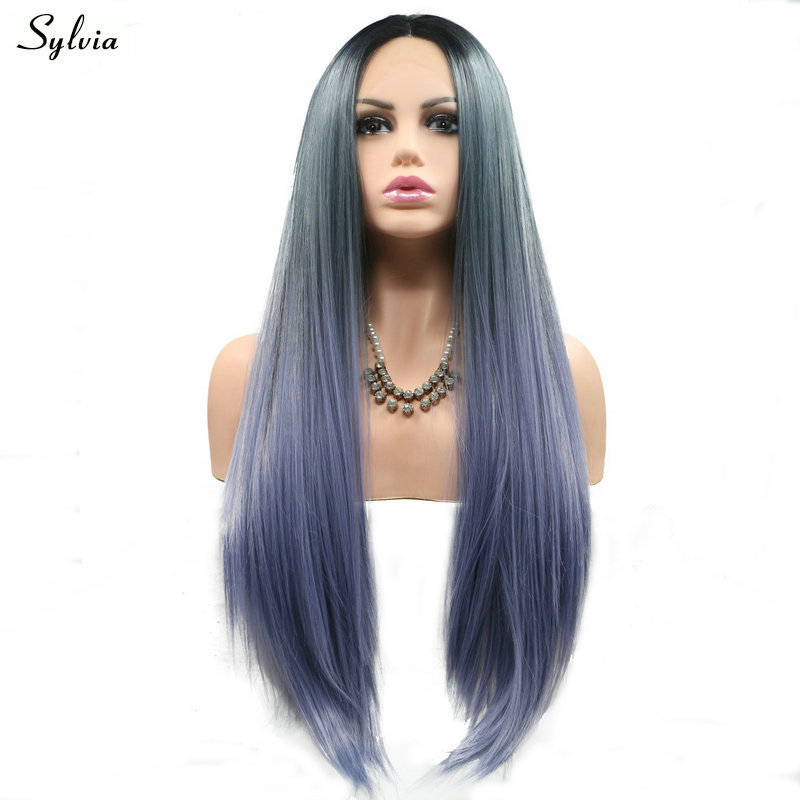 Sylvia Lace Front Wigs Ombre Somke Grey to Blue With Dark Roots Silky Straight Synthetic Heat Resistant Fiber For Women 3 Tone