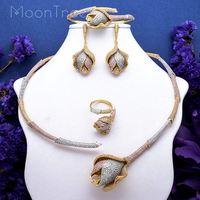 MoonTree Luxury Rose Flower Super Shiny AAA Cubic Zirconia Women Wedding Bridal Necklace Bangle Earring Ring Copper Set Joias