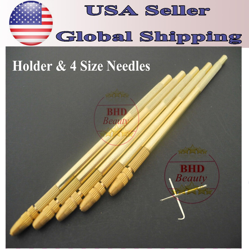 1 Holder +4 Needles Free Shipping Bronze Lace Wig Ventilating Holder And Needle-make Or Repair Your Own Lace Wig Wig Needle Evident Effect