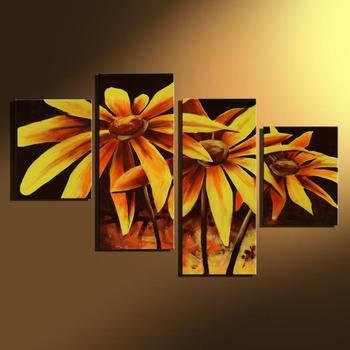 Hand Painted Canvas Oil Painting Beautiful Yellow Flower Wall Art Decorative Picture Abstract 4 Panel Sunflower for Home Decor