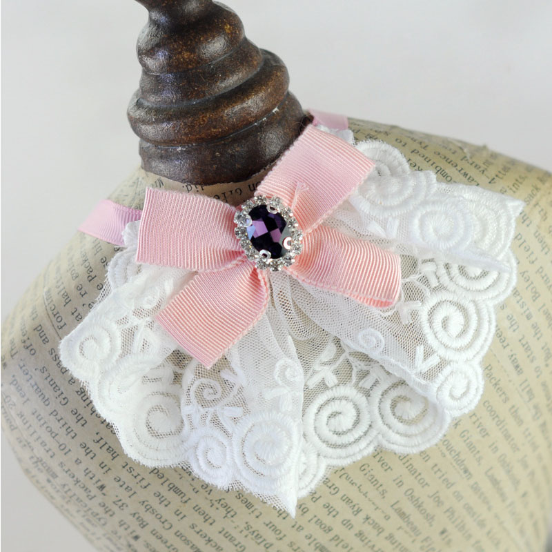 Cute lace rhinestone Dog luxury wedding Collar Dog cat pet bow tie Collar necklace jewelry accessory dog Bib Bandana Neckerchief