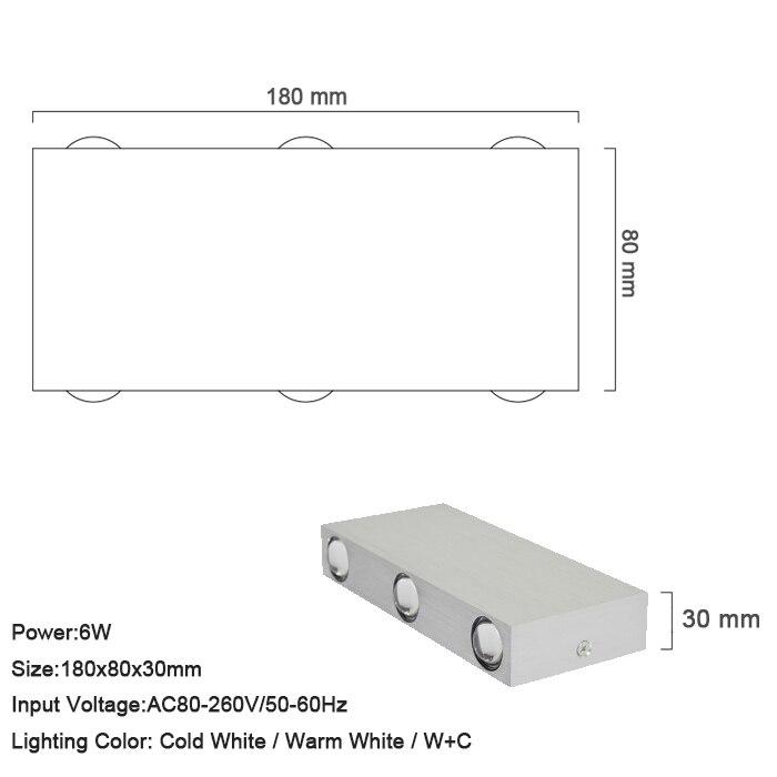 LED კედლის შუქები 6W ფერადი - შიდა განათება - ფოტო 6