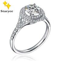 Test Positif Pur 18 K Blanc Or De Luxe 2 CT effet Moissanite Diamant Halo Style Bague De Fiançailles De Mariage Pour Les Femmes Au750 timbre