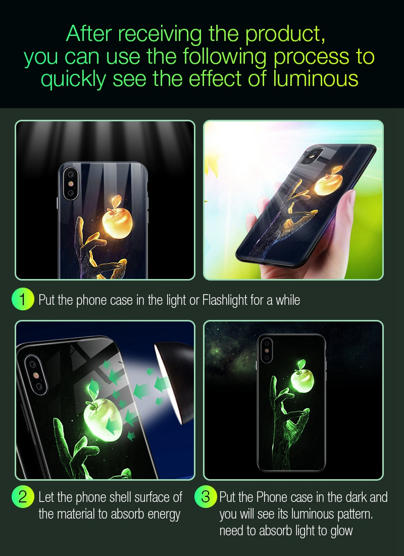 Luminous Case For iPhone X XS MAX Case For iPhone 7 6 s 8 Plus X 10 Luxury PC+Tempered Glass Pattern Silicone Edge Cover (23)