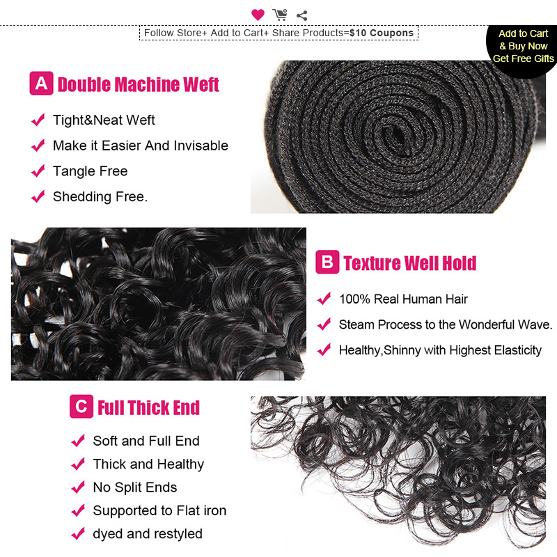 Ishow Haar Maleisische Krullend Haar Weave Bundels 100% Menselijk - Mensenhaar (voor zwart) - Foto 3