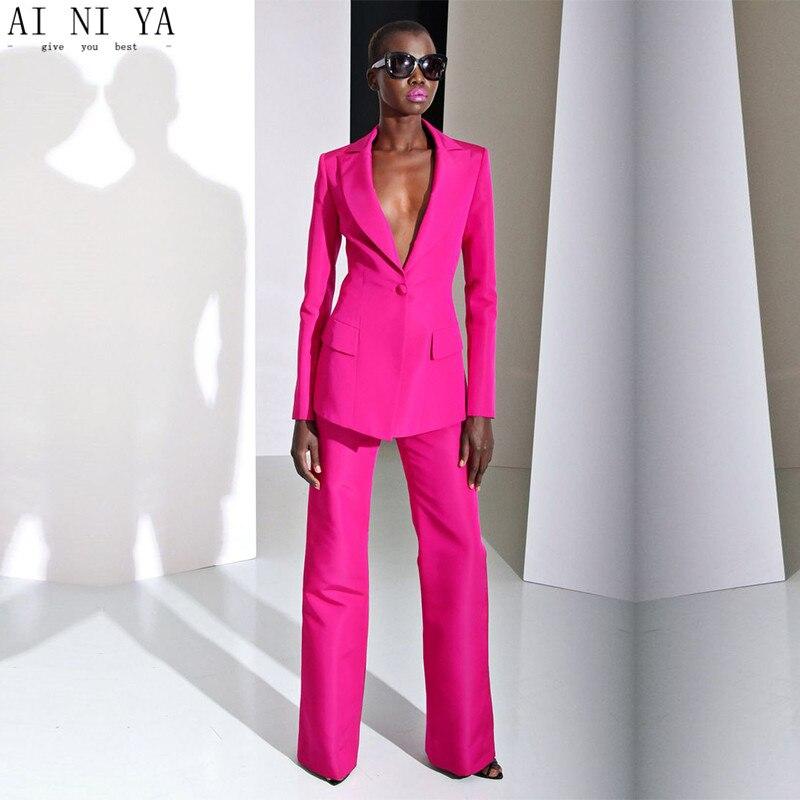 Nuevo 2019 fucsia formal pantalón trajes para bodas mujer trajes de negocios mujer trajes de pantalón de mujer traje de