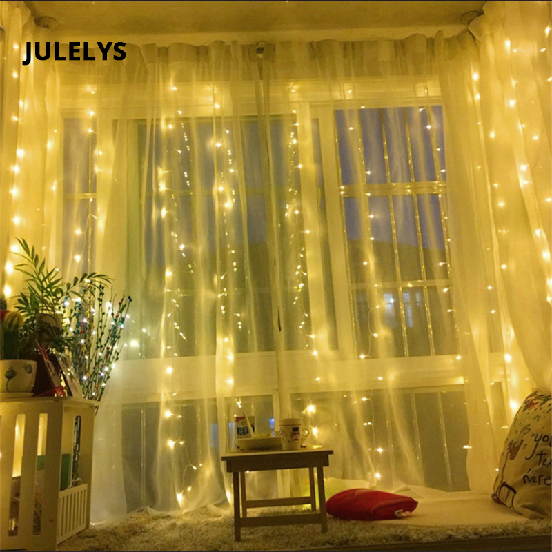 JULELYS 6M x 3M 600 Bulbs Outdoor Garland LED Curtain Light For Holiday Party Christmas Lights Decoration For Wedding Room