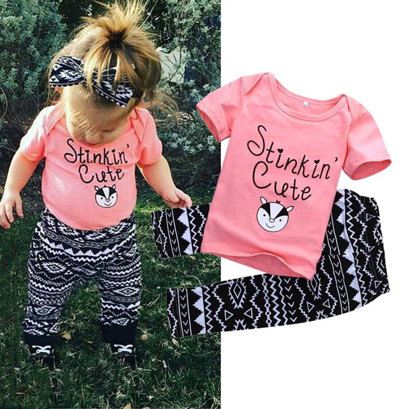 Newborn Kids Baby Girls Outfits Clothes Tee T-shirt Tops + Pants Trousers 2PCS Set Baby Girl Clothing kids baby girls outfit clothes t shirt dot tops bloomers pants trousers 2pcs set x16