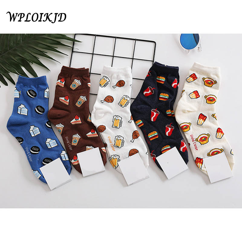 Japanese Harajuku Cake Hamburg Cookies Cute Funny Socks Graffiti Food Kawaii Socks Women Creative Art Calcetines Divertidos Sox