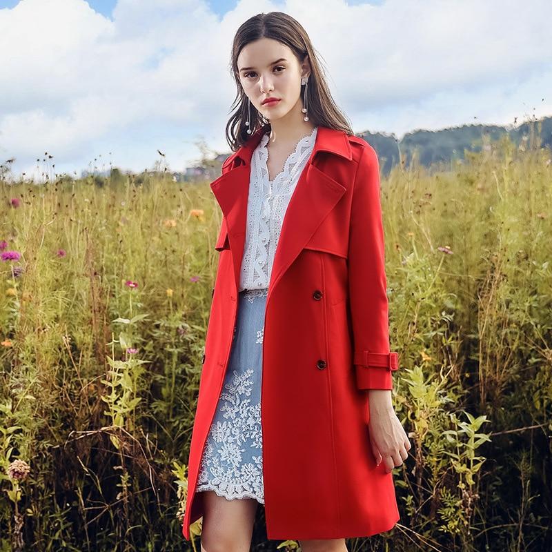 Taille Automne Vêtements Double coat 2018 Manteau Élégance allumette Lâche De Boutonnage Printemps Longue Tout Femmes Beige Mince Trench rouge Élégant t6tBqw