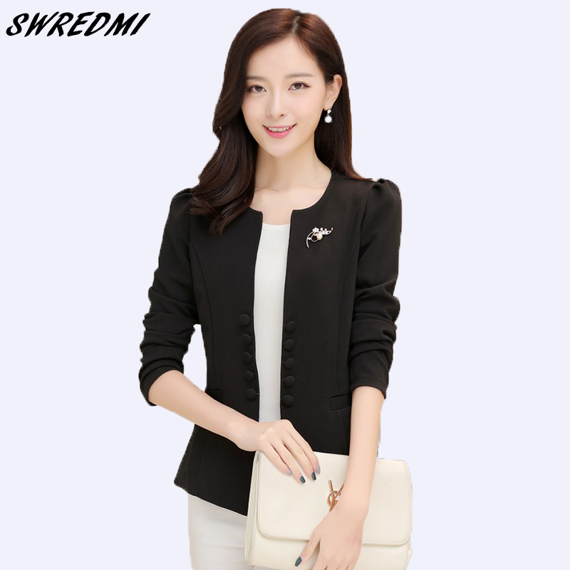 SWREDMI Women's Blazer 2019 New Spring And Autumn Female Suit Coat Fashion Slim Suit Jacket Plus Size L-5XL Office Lady Blazers