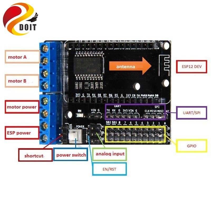 DOIT L293D motor driven shield board extension board development board for nodemcu esp8266 wifi diy rc toy