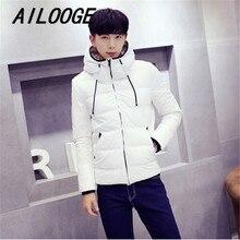 White/Black Casual Winter Jacket Men Hooded Fashion Down Parka Outwear Coat Short Slim Men's Winter Jacket 2016 Hot Sale