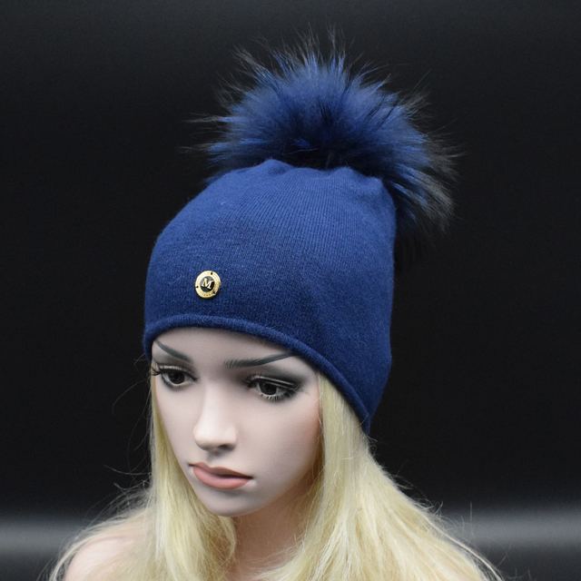 62c29d71126 2017 Winter Classic Women hat Big Raccoon fur POM POMS Beanie Hat High  quality Fine wool Double knitting Warm caps Lady Fur hat