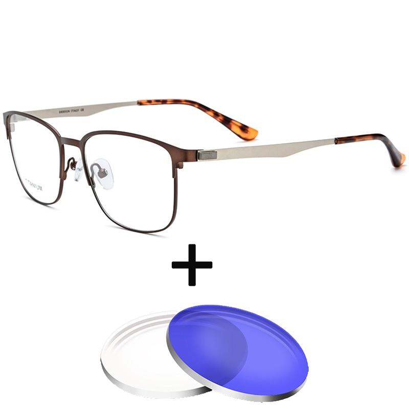 2e8eb0eac3 1.67 1.61 Index Optical Glasses Photochrom Metal Prescription Anti blue  light Myopia Astigmatism Men Square Frame Glasses -in Prescription Glasses  from ...