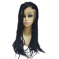 StrongBeauty Woman Synthetic Lace Front Wig Black Hair Braided Box Braids wigs