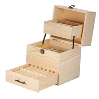 Makeup Tool Kit 3 Tier Essential Oil Storage Box Makeup Case Wooden Container Organizer Display Cosmetics