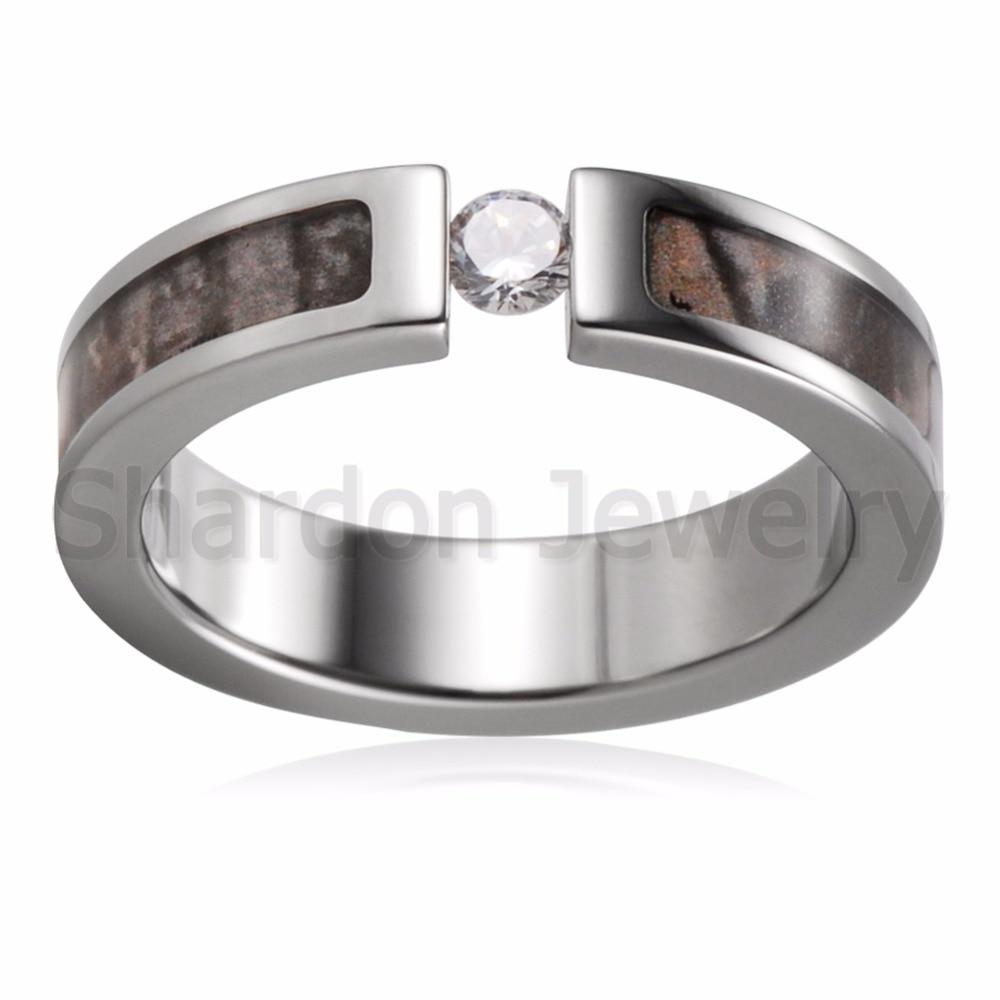 Shardon Titanium Tension Set Cubic Zirconia Real Tree Camo Ring Engagement  Wedding Band