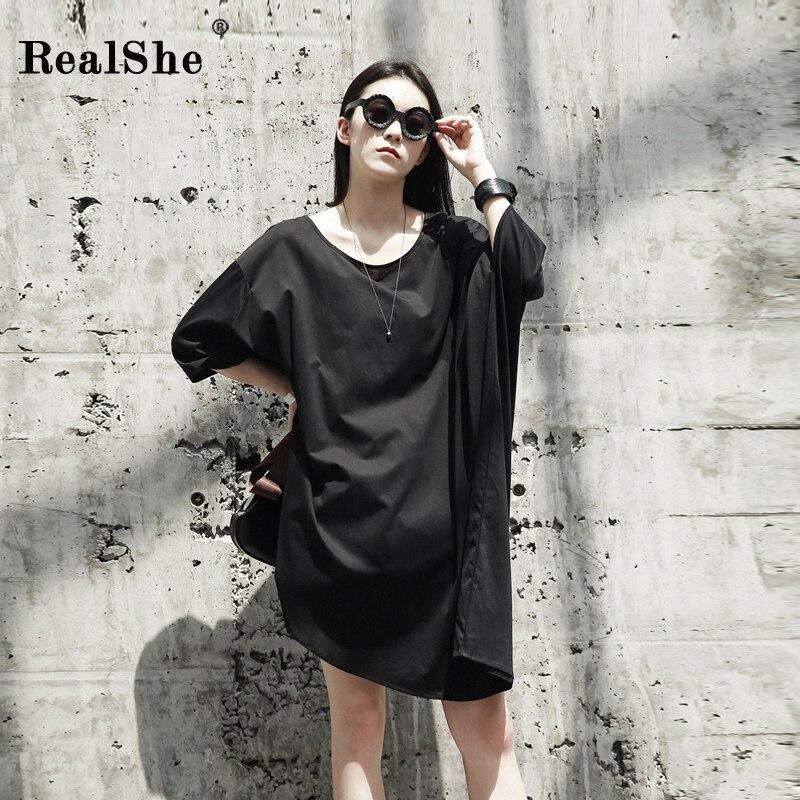 RealShe automne femmes robe femme o-cou manches chauve-souris noir asymétrique coton robes nouveau lâche décontracté femmes robes