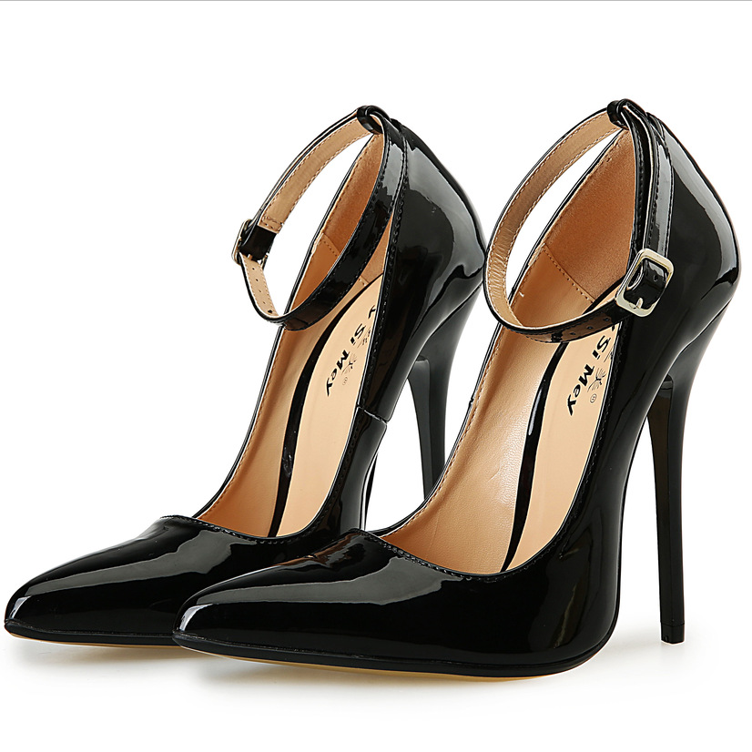 High Heels Women Pumps Pointed Toe Leather Black Dress Women Shoes Ankle Strap Thin Heels Basic Women Pumps Red Wedding Shoes crystal wedding shoes women red rhinestone suede jewel pointed toe high heels black size 33 ankle strap super pumps bride thin