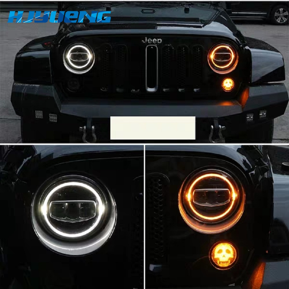 """Image 2 - 2PCS 7"""" Inch Led Headlights DRL & Amber Turn Light & Hi/Lo Beam for Jeep Wrangler JK TJ LJ CJ Rubicon Sahara Unlimited Hummer-in Car Light Assembly from Automobiles & Motorcycles"""
