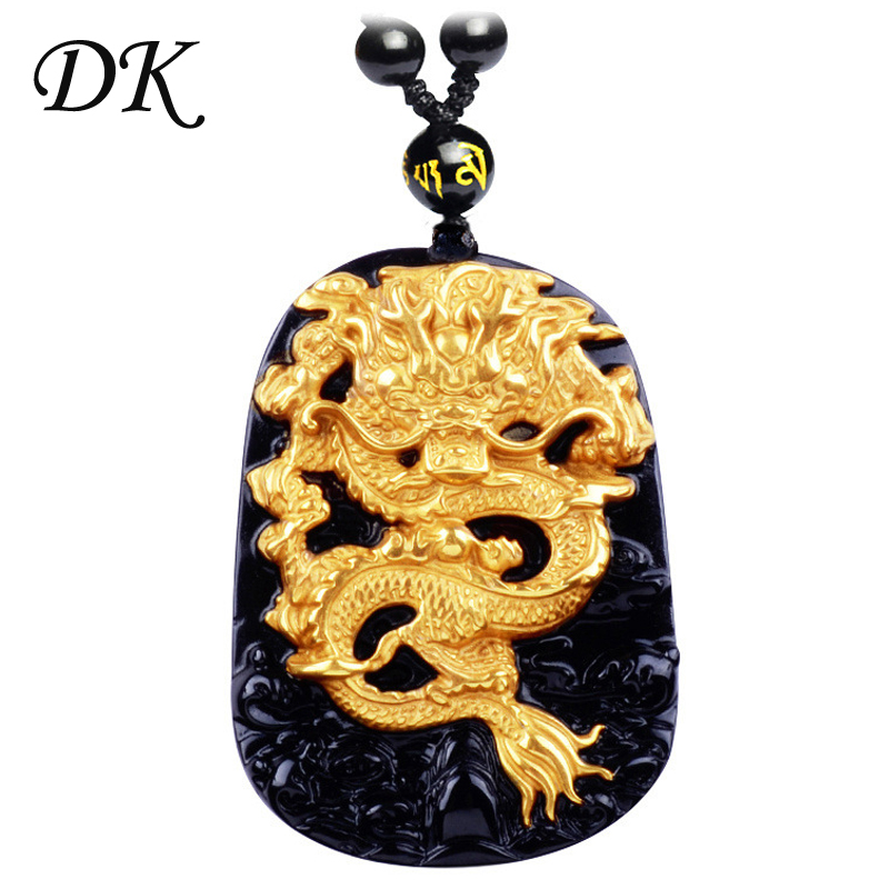 Black Obsidian Pendant Golden Dragon Amulet Pendant Necklace Obsidian Blessing Lucky Pendants
