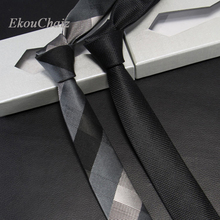 New Silk High Quality Men Ties Business Party Slim Neck For Skinny Solid Black Grey Plaid Neckwear Luxury Gifts Corbata