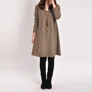 Image 4 - EaseHut Mori Girl Casual Midi Dress Women V neck Long Sleeve 4XL 5XL Large Size Dress 2020 Female Autumn Winter Dress Vestidos