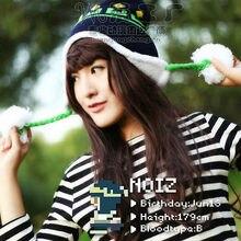DRAMAtical Murder DMMD Noiz Winter Warm Women Knitted Beanie Bomber Hat Cap with Badge Cosplay prop