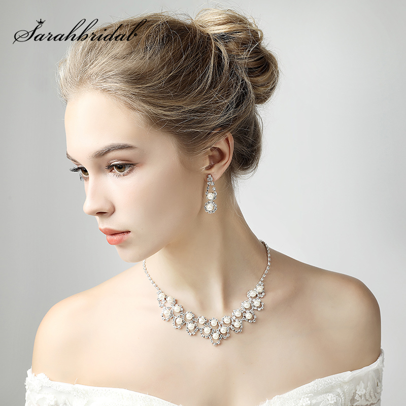 Fashion Wedding Bridal Jewelry Sets Party Necklace Earring Jewellery Set Rhinestone Simulated-pearl Jewelry Accessories 15036