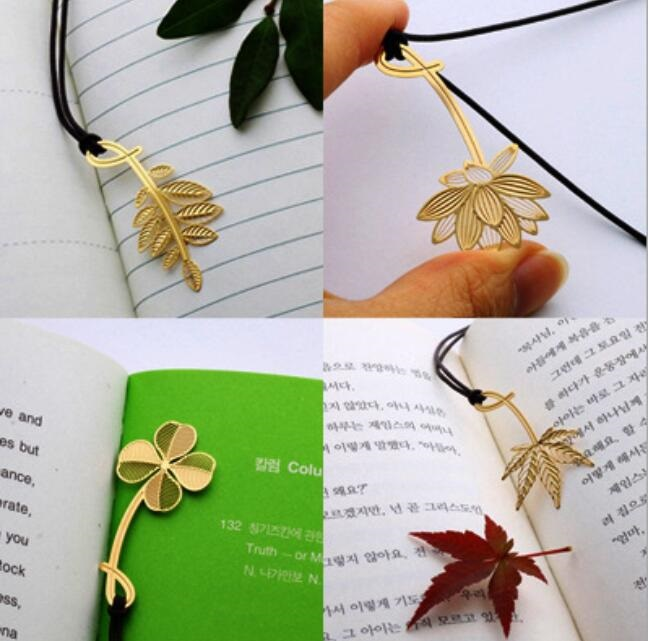 1pcs/lot NEW 18K Golden Plant Series Cute Stationery Metal Bookmarks For Book Holder Gift School Supplies