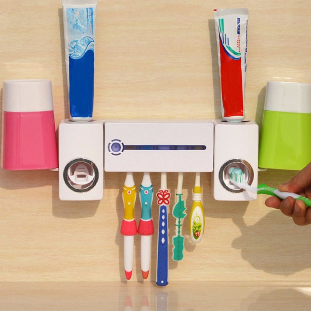 Pro Pratico Antibatterica Ultravioletta Della Luce UV Spazzolino Dispenser Sterilizzatore Titolare Bagno Spazzolino Cleaner Con 2 Tazze