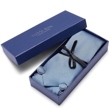 Joy alice Mens Ties Solid Blue Tie Hanky Cufflink Set Business Gift For Men gravata Free Shipping gift box packing