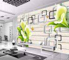 Papier peint mural carré aquarelle en trois dimensions, moderne, peint à la main, mur de fond de jardin, salon, chambre à coucher