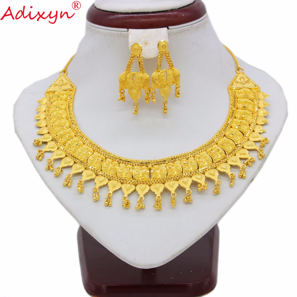 Adixyn TWO DESIGH India Necklace Earrings Set Jewelry Women Girls Gold Color Romantic Arab Ethiopian African