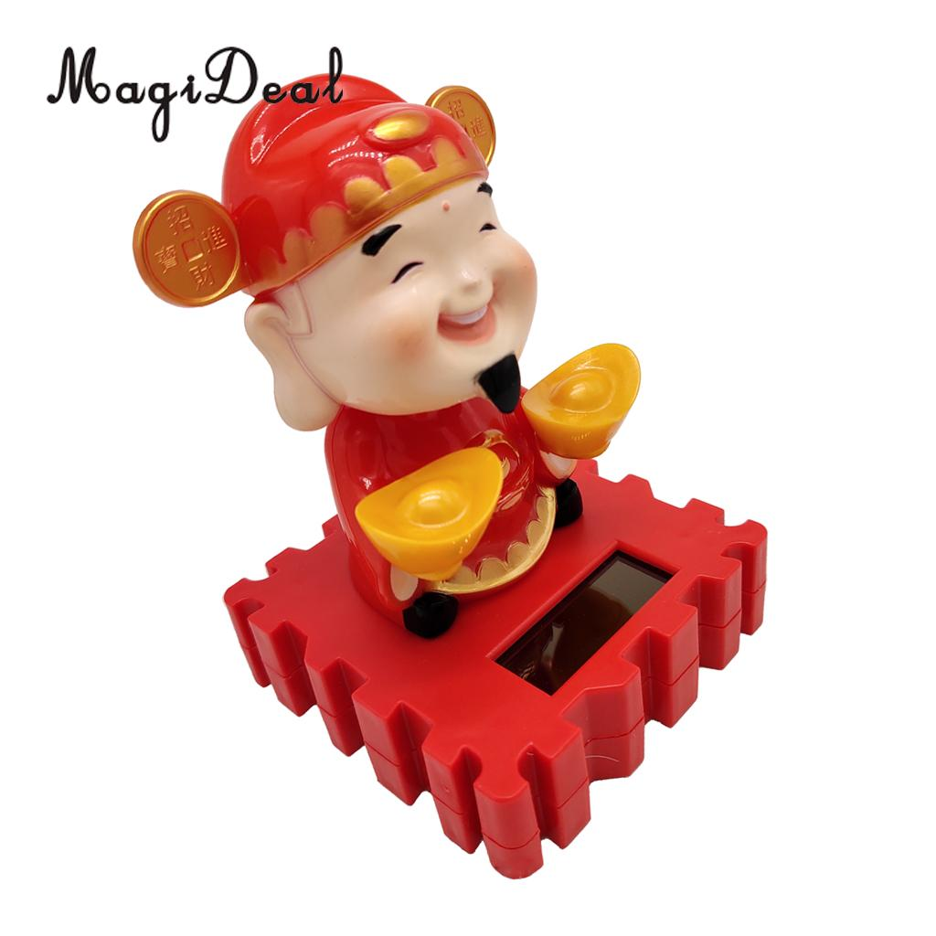 Solar Power Dancing God of Wealth & Fortune Model Swing Figure Statue Figurine Kid Science Toy Xmas Gift Home Car Desk Decor #B