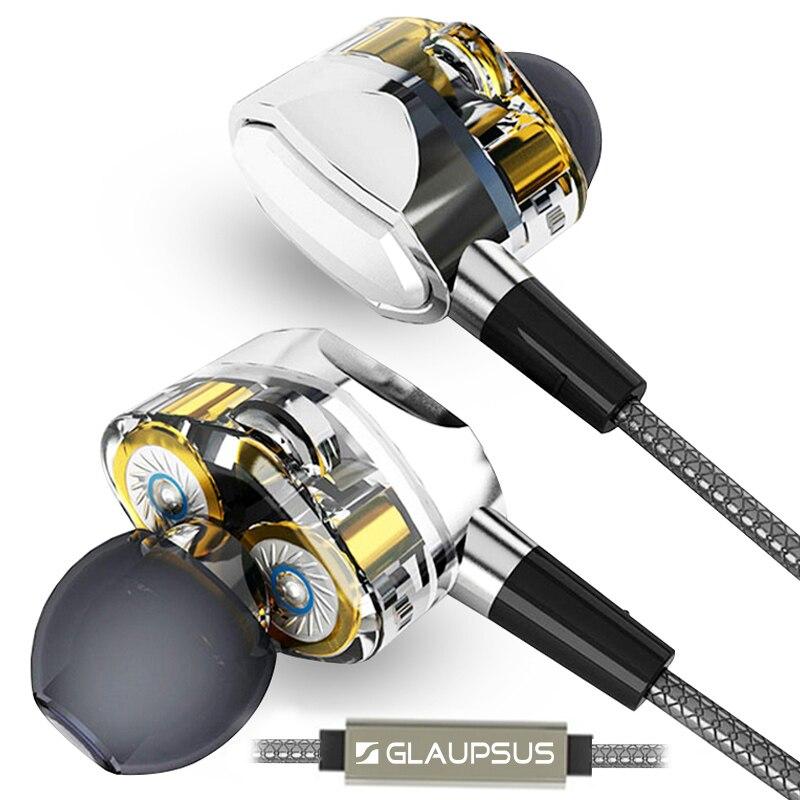 imágenes para GLAUPSUS Dual Pro G2 Sistema de Auriculares de Doble Controlador Profundo Bass HIFI Perfecta Calidad de Sonido Del Subwoofer Auriculares In-Ear Dinámico de Controladores