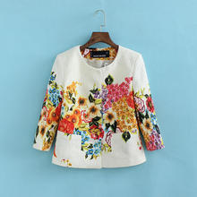 2016 Autumn new arrival women fashion casual flower printed short coat, female brand high quality three quarter sleeves jackets