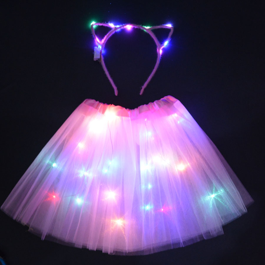 Women Girl LED Party Light Up Wire Tutu with Glow Ear headbands Cat Costume Stage Dancing Birthday Glow Party SkirtWomen Girl LED Party Light Up Wire Tutu with Glow Ear headbands Cat Costume Stage Dancing Birthday Glow Party Skirt