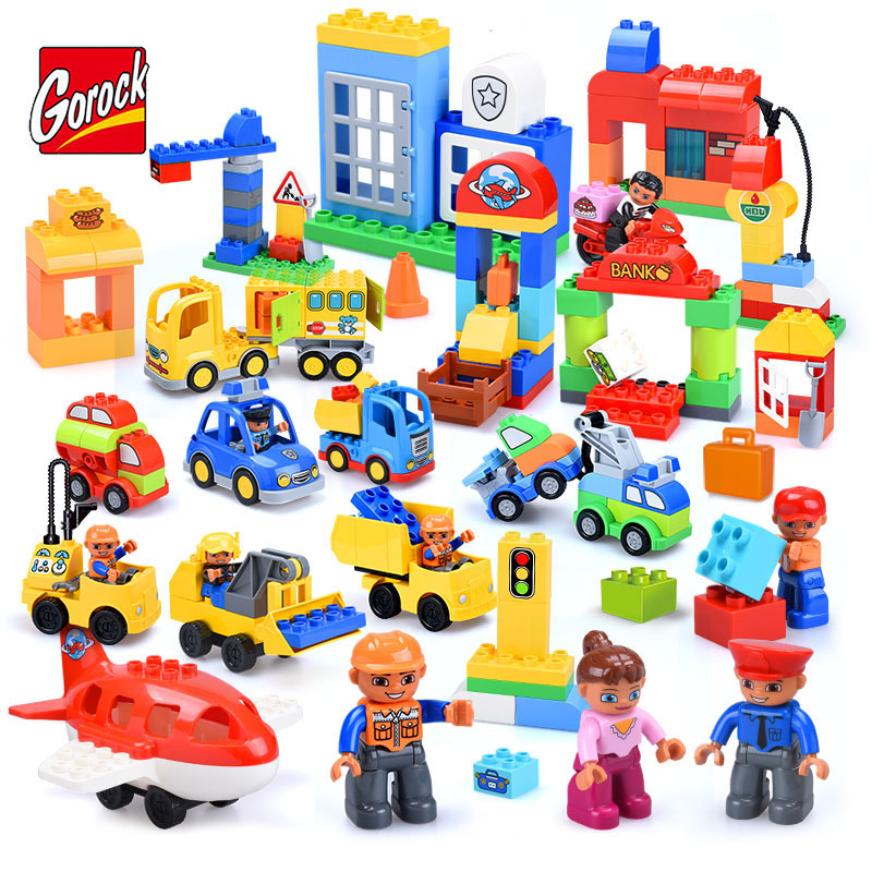 GOROCK City Series Police Station Fire Station Construction Team Model Large Size Building Block Toy Compatible Duplo Kid Gift sytopia fire station fire police children building blocks big size educational toy for baby kid gift toy compatible with duploe