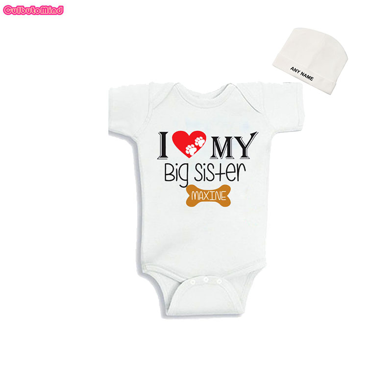 Culbutomind I Love My Big Sister Print Newborn Baby Kids Girls Summer  Outfit Jumpsuit with Custom 9df5987ee075