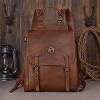 Nesitu высокое качество коричневый Винтаж натуральной кожи 14 ''15,6'' ноутбук Для мужчин рюкзаки теплые мужские дорожные сумки M9081