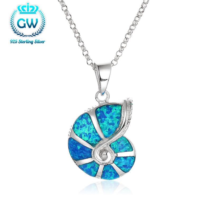 925 Sterling Silver Solid Pendants Snail Opal Pendant For Chain Female Brand GW Jewellery FP321 90