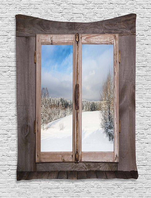 Rustic Tapestry Winter Season Scene From A Wooden Window Of Country House Snow Vintage Design Wall
