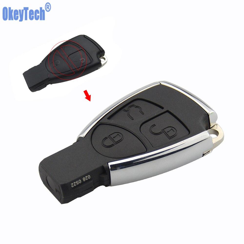 OkeyTech New Style Silver Side 3 Modificado Botão do Controle Remoto Chave Shell Caso Fob para Mercedes Benz MB CLS C E S com Suporte Da Bateria