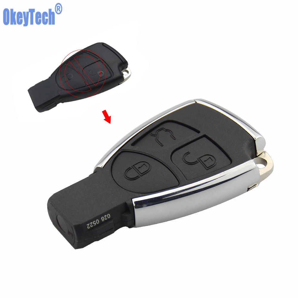 OkeyTech New Style Silver Side Modified 3 Button Remote Key Shell Case Fob for Mercedes Benz MB CLS C E S with Battery Holder цена