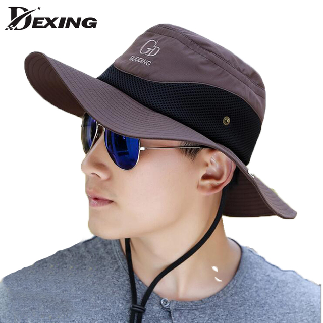e01f5f95e83 2018 wide brim sun hat Breathable waterproof fishing hat UV Protection  Visors bucket hat fisherman fishing cap panama hat