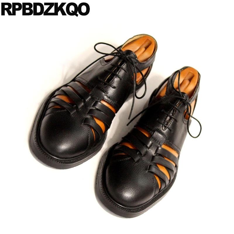 Männer Schuhe Qualität Flache Echtes Luxus Sommer Zehe Hohe Kleid 45 Große Designer Leder Römischen Schwarz Schwarzes Plus Größe Geschlossene Sandalen 2018 xwfXS0I